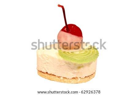 Sweet pastry with cherry isolated on white background