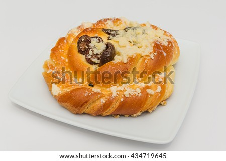 Sweet pastry with plum fruits.