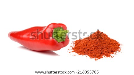 Sweet pepper and cayenne pepper  isolated on a white background - stock photo