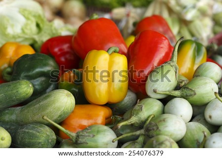 sweet pepper and vegetables in local market - stock photo