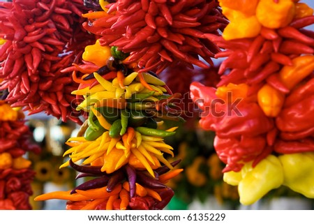 sweet pepper on display on Pike Place Market, Seattle, Washington - stock photo