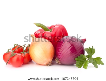 Sweet pepper, onion, tomato  and basil leaves  still life isolated on white background cutout