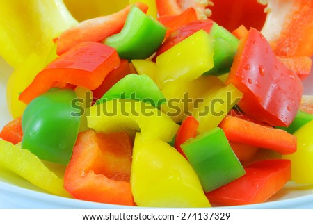 sweet pepper slices chopped  - stock photo