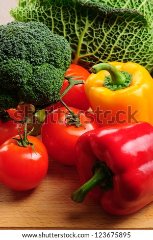 sweet pepper, tomato, cabbage - stock photo