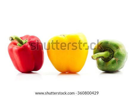 Sweet peppers on white background. Food ingredient. - stock photo
