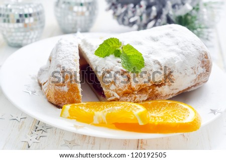 sweet pie with fruit - stock photo