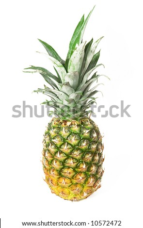 Sweet pineapple isolated on white - stock photo