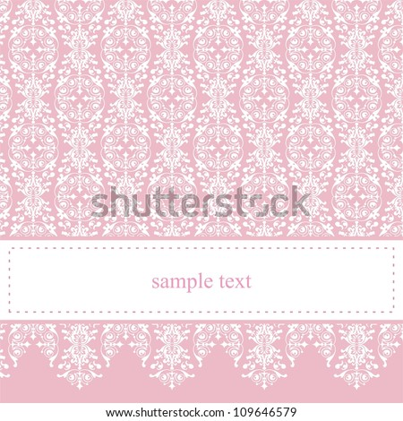 Sweet, pink card or invitation for party, birthday, baby shower with white classic elegant lace. Cute background with white space to put your own text message. - stock photo