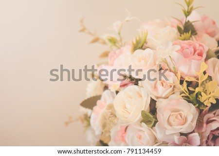 Sweet pink roses flower blooming in soft and blur, love and romantic concept background, vintage filter.