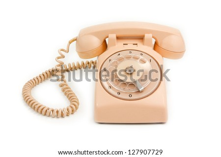 sweet pink vintage retro phone - stock photo