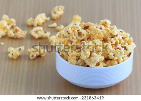 sweet popcorn in white bowl - stock photo