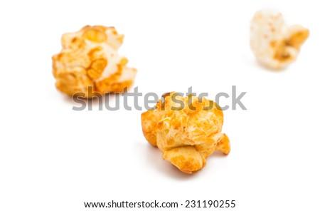 sweet popcorn on a white background - stock photo