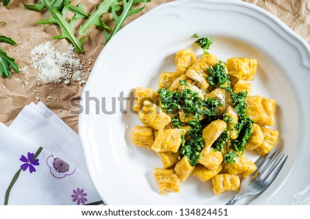 Sweet Potato Gnocchi with Arugula and Parmesan Sauce