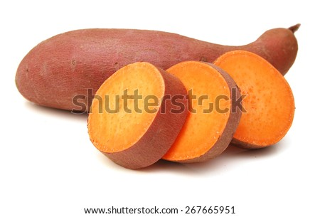 Sweet potato isolated on white background - stock photo