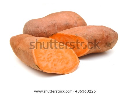 Sweet potato isolated on white background