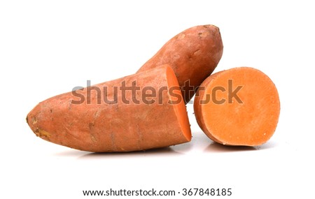 Sweet potato on white background
