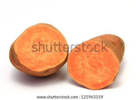 Sweet potato or batata (Ipomoea batatas) isolated in front of white background