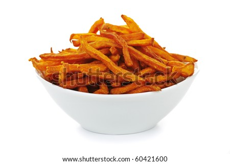 Sweet potato or yam fries in a bowl isolated on white background - stock photo