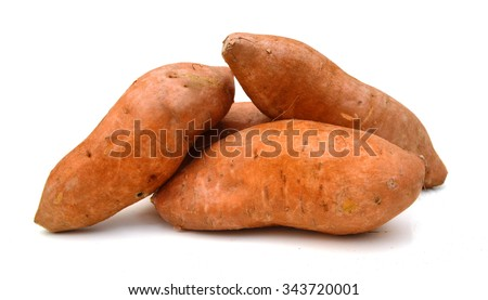 Sweet potato over a white background