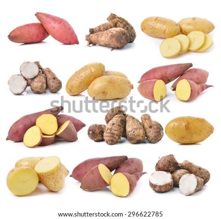 sweet potato, potato, taro root  on the white background - stock photo