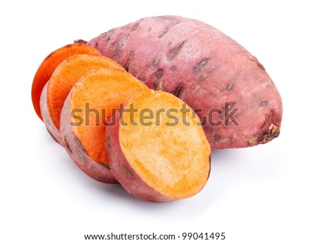Sweet potato with slices isolated on white background