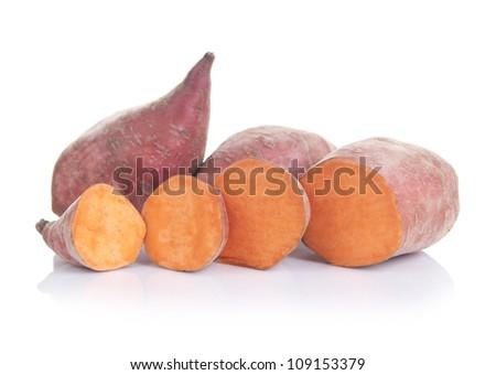 Sweet potatoes ( lat. Ipomoea batatas ), isolated on white background - stock photo