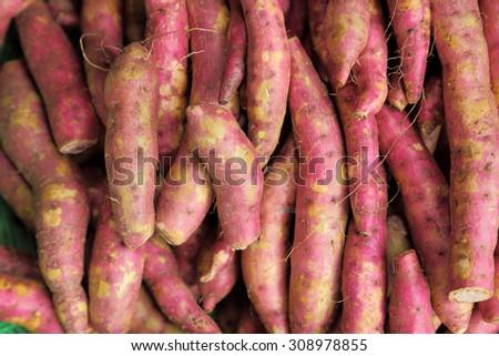 Sweet potatoes selling in market. - stock photo