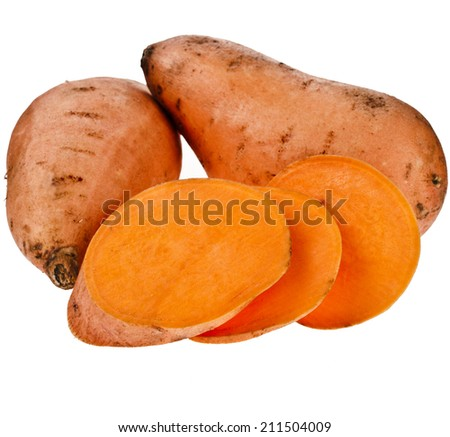 Sweet potatoes with slices isolated on white background - stock photo