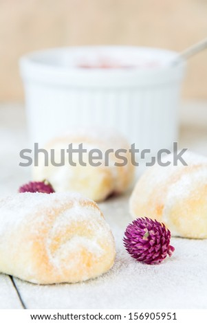 Sweet puff pastry with fruit jam