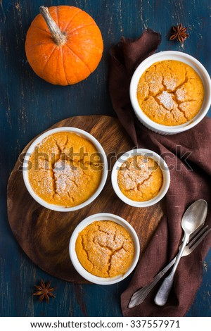 Sweet pumpkin  souffle , top view - stock photo