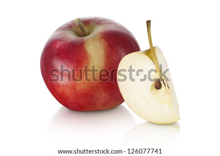 sweet red apple with apple slice