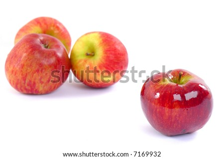 Sweet Red Apples on white background .