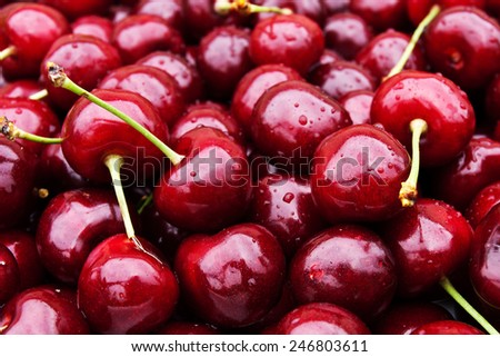 sweet red cherry background - stock photo