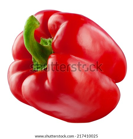 Sweet red pepper. Fresh paprika isolated on white. With clipping path - stock photo