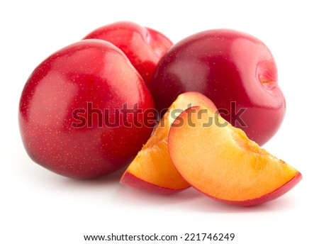 Sweet red plums, sliced, isolated on white background cutout - stock photo