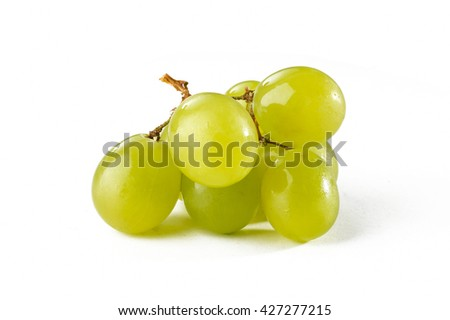 sweet, ripe and Green grapes isolated on white background