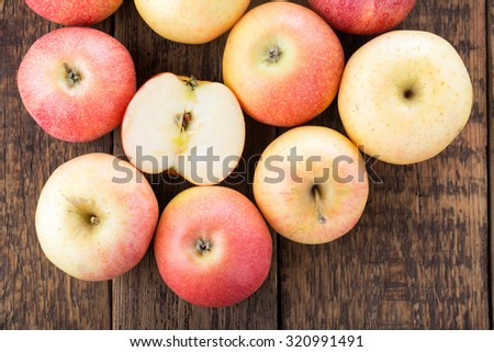 Sweet ripe apples. Fruit background. Top view. - stock photo