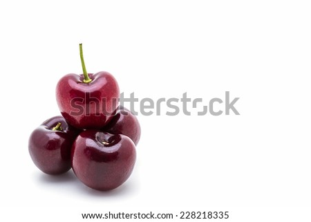 Sweet ripe cherry on a white background.  - stock photo