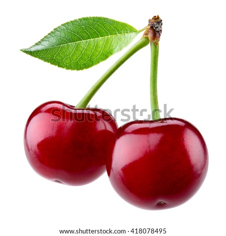 Sweet ripe cherry with leaf isolated on white background.