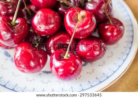 Sweet ripe fresh cherry berries, stock photo - stock photo