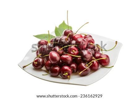 Sweet ripe gean cherry berries - stock photo