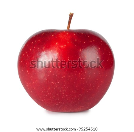Sweet ripe red apple isolated on white background - stock photo