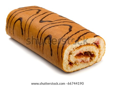 Sweet  roll cake isolated on white - stock photo