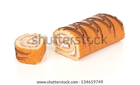 Sweet roll cake with slice, isolated on white background - stock photo