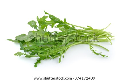 Sweet rucola salad or rocket lettuce leaves isolated on white background - stock photo