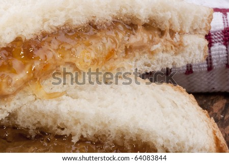 Sweet sandwich with Peanut butter and jam.