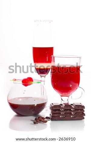 Sweet set of Cocktail, vine, jam jar and chocolate bars - stock photo