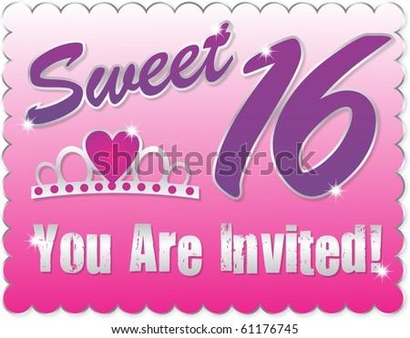 Sweet sixteen greeting c ard stock illustration 61176745 shutterstock sweet sixteen greeting card m4hsunfo