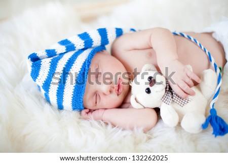 sweet sleeping baby boy - stock photo