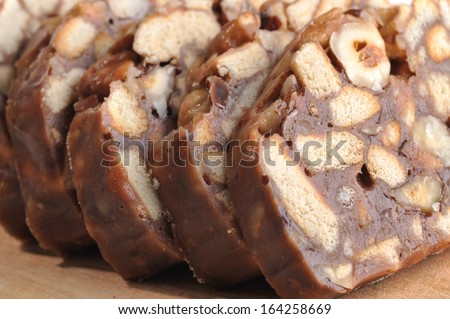 sweet sliced cake  ready to eat - stock photo